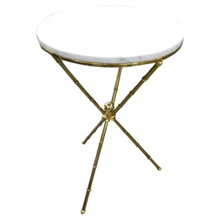 Faux Bamboo and Marble Tripod Side Table