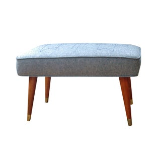 Upcycled Mid-Century Modern Footstool with Denim
