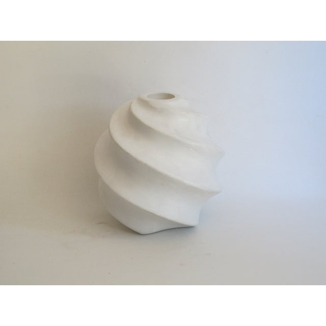 White Sculptural Ceramic Candle Holder - Image 2 of 6
