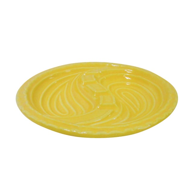 Mid-Century Modern Atomic Yellow Ashtray Dish - Image 1 of 8