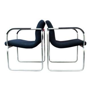 Vintage Chrome Goodform Club Arm Chairs - A Pair