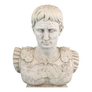 Greco-Roman Concrete Bust and Pedestal