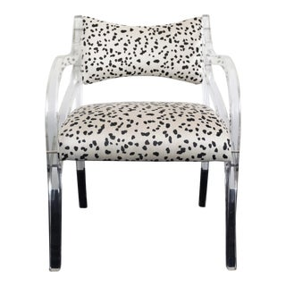 Vintage Spotted Upholstered Lucite Chair by Hill Manufacturing Co.