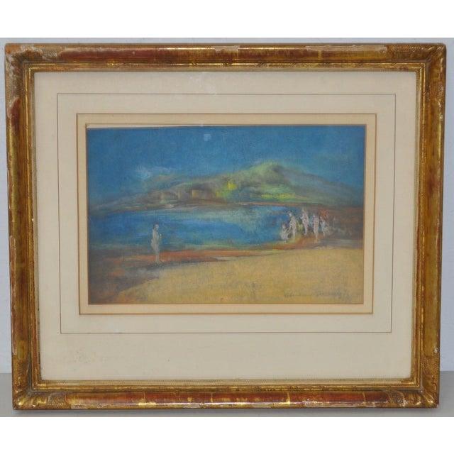 """Abraham Goldberg """"Coastal Scene w/ Figures"""" Pastel Painting c.1930s - Image 2 of 7"""