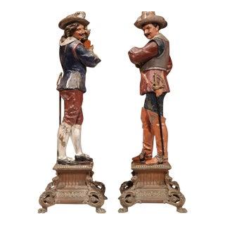 Hand-Painted Metal Musketeer Figurines - A Pair