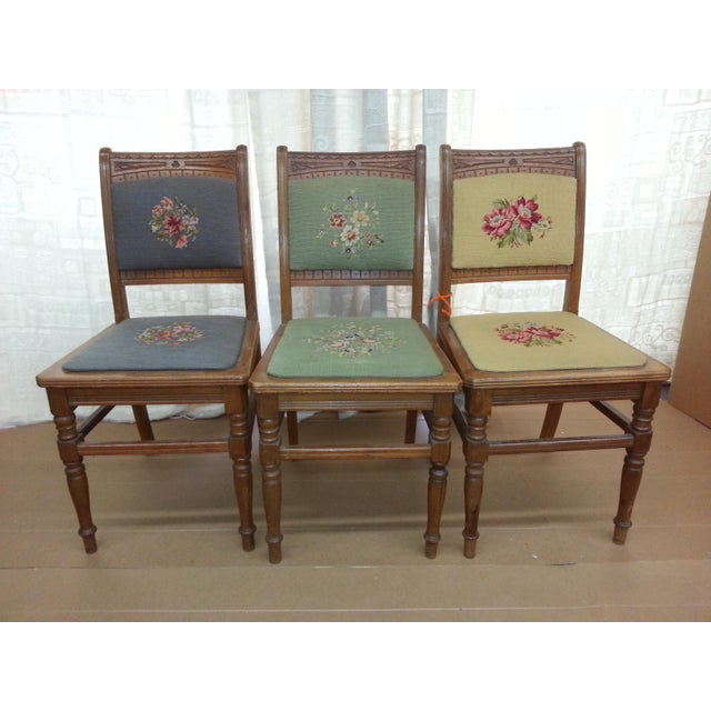 Needlepoint Prairie Dining Chairs - Set of 3 - Image 6 of 8