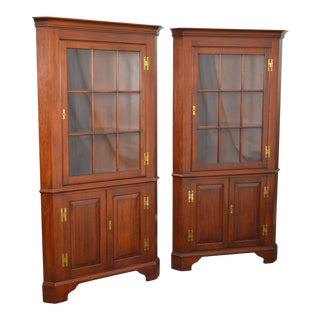 Henkel Harris Pair of Solid Cherry Chippendale Style Corner Cabinets