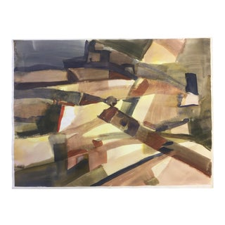1970s Thelma Corbin Moody Abstract Expressionist Landscape Painting