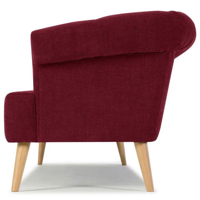 Image of Sarreid LTD Burgundy Red Tufted Sofa