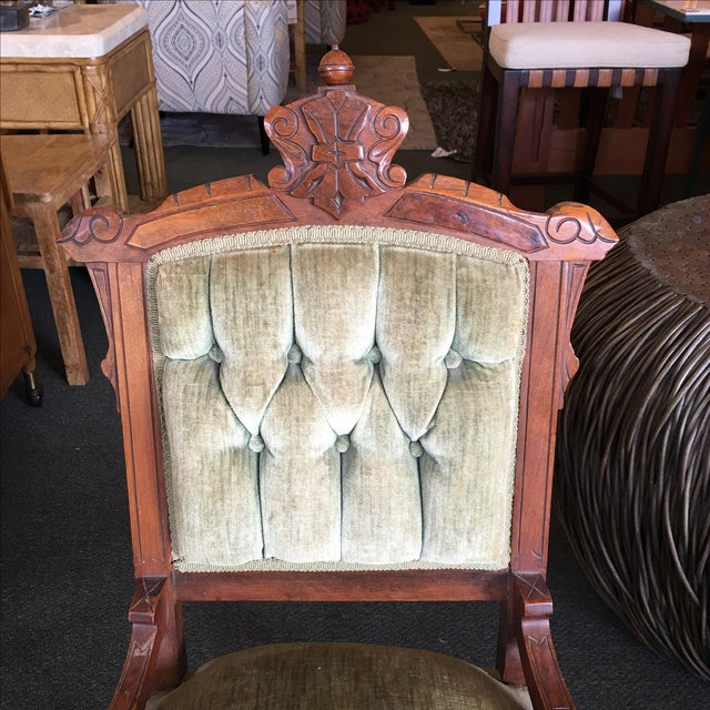 Antique Green Velvet Accent Chair - Image 4 of 7