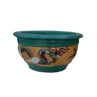 Chinese Dragon Phoenix Ceramic Round Planter