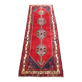 "Red & Blue Persian Hamadan Runner - 3'6"" X 9'9"""