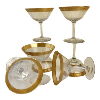 Mid-Century Gold Rimmed Cocktail Glasses - Set of 7