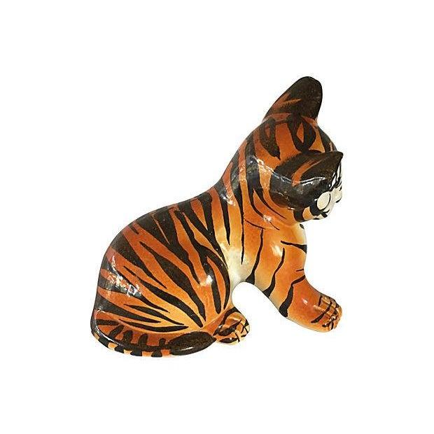 Hand Painted Italian Ceramic Tiger Cub - Image 2 of 6