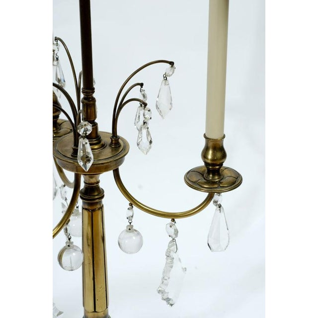 Pair Stiffel Large Brass & Crystal Bouillotte Table Lamps - Image 4 of 7