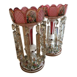 Red Lustre Candle Holders - A Pair