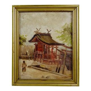 Vintage Japanese Village Painting