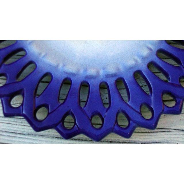Vintage Portuguese Majolica Ceramic Blue Platter - Image 4 of 6
