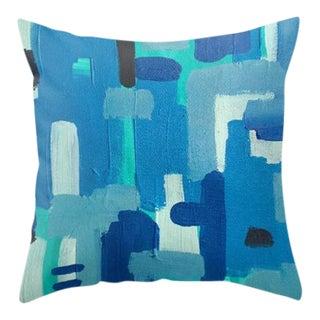 Blue Abstract Art Throw Pillow