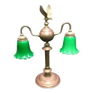 Vintage Emerald Glass Eagle Brass Lamp