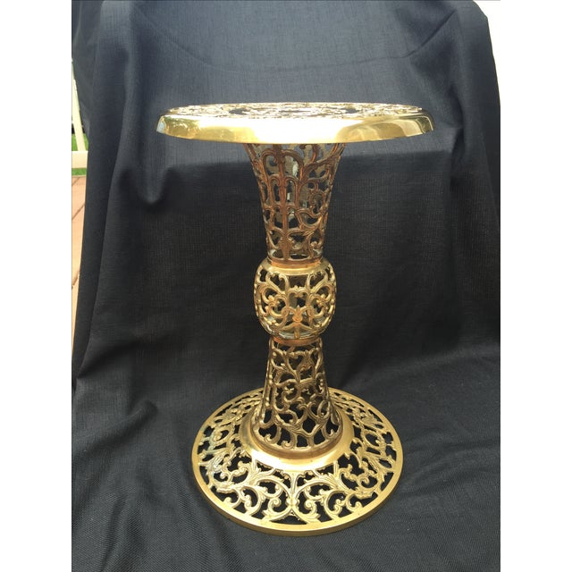 Ornate Filagree Solid Brass Round Side Table - Image 6 of 11