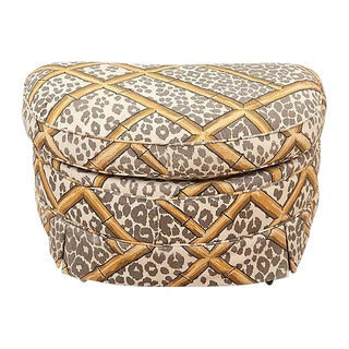 Neoclassical Cotton Upholstered Ottoman