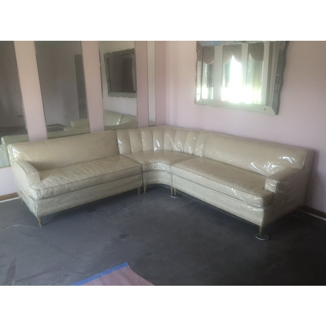 Mid-Century Modern Cream Floral Sectional - Image 2 of 6