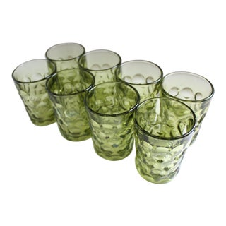 Vintage Avocado Thumbprint Glasses - Set of 8