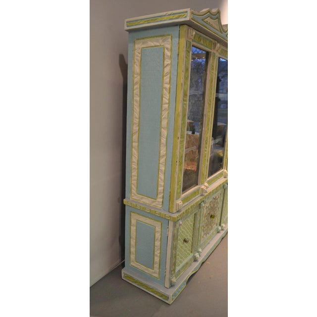 Painted & Wallpapered China Cabinet - Image 3 of 5
