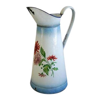 1920s Vintage French Hand-Painted Enameled Pitcher
