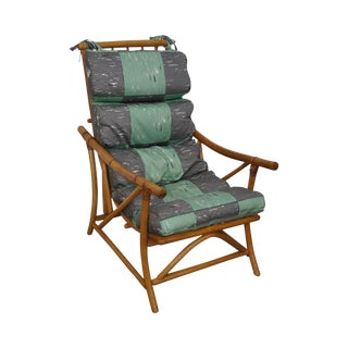 Mid-Century Rattan Frame High Back Lounge Chair