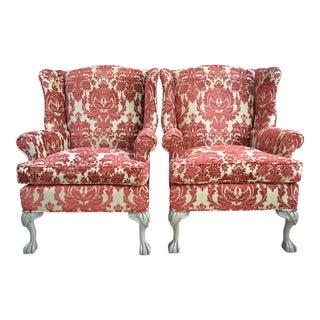 Crimson Medallion Wingback Chairs - A Pair