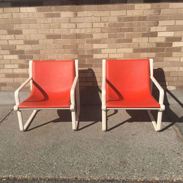 Knoll Iconic Orange Shell Lounge Chairs - A Pair - Image 5 of 8