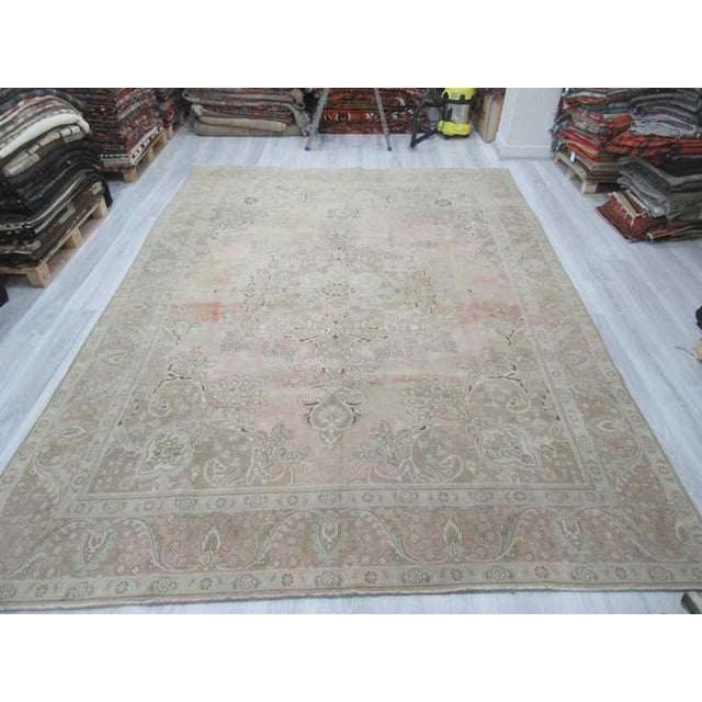 Persian Washed Out Tabriz Rug- 9′1″ × 12′6″ - Image 3 of 6