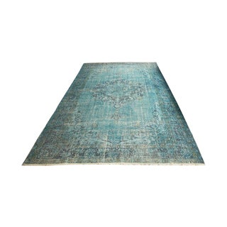 """Turquoise Turkish Overdye Area Rug - 6'5"""" x 10'11"""""""