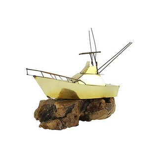 Mid-Century Brass Yacht With Wood Base