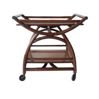 Vintage Bamboo Rolling Bar Cart