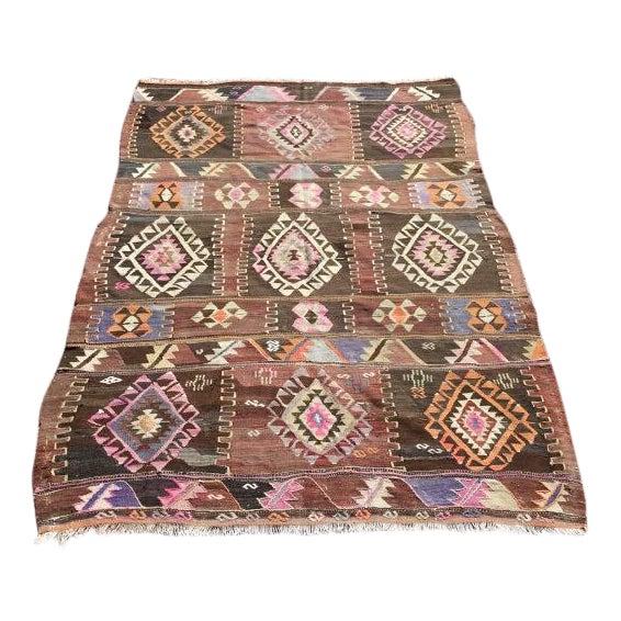"""Vintage Turkish Kilim Rug -- 4'7"""" x 6'8"""" - Image 1 of 7"""