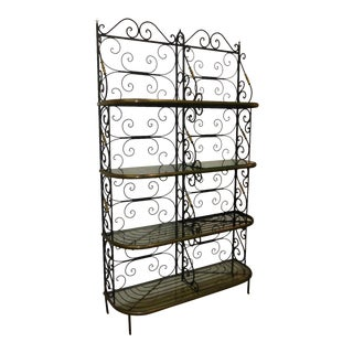 Vintage Baker's Rack Solid Wrought Iron W Solid Brass Hardware Bookcase