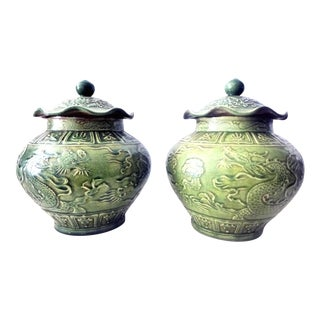 Dragons Celadon Lidded Ginger Jars - A Pair