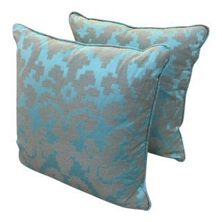 Geometric Turquoise Throw Pillows - Pair