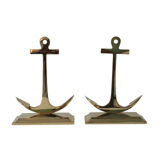 Large Brass Anchor Bookends - Pair