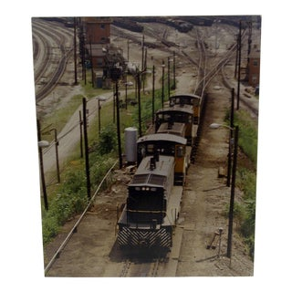 "Circa 1970 Original ""Three Engines"" Color Train Photograph"