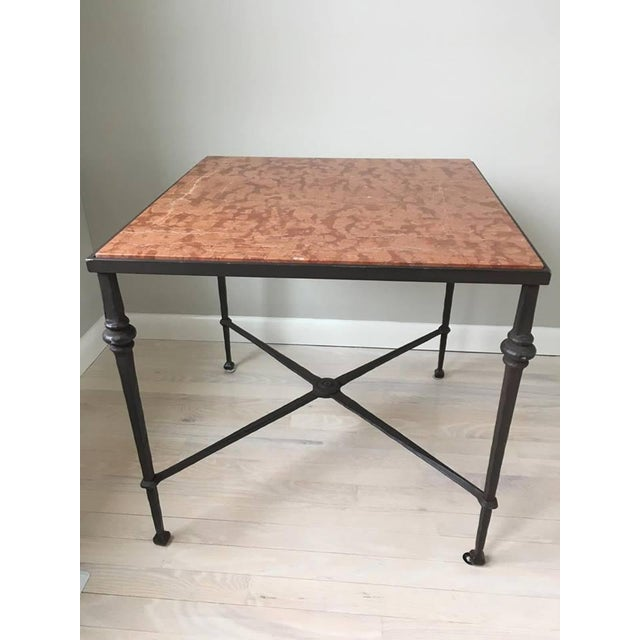Image of Wrought Iron Marble Top Side Table