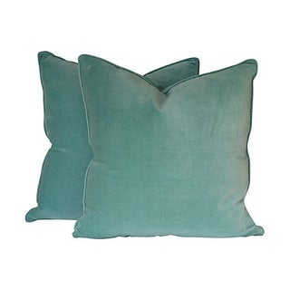 Seafoam Blue Velvet Pillows - A Pair