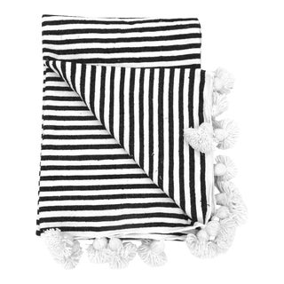 Moroccan Black & White Striped Pom Pom Blanket