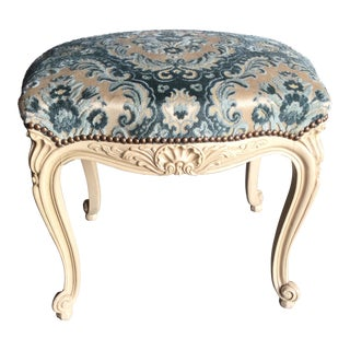 French Painted & Blue Brocade Velvet Footstool