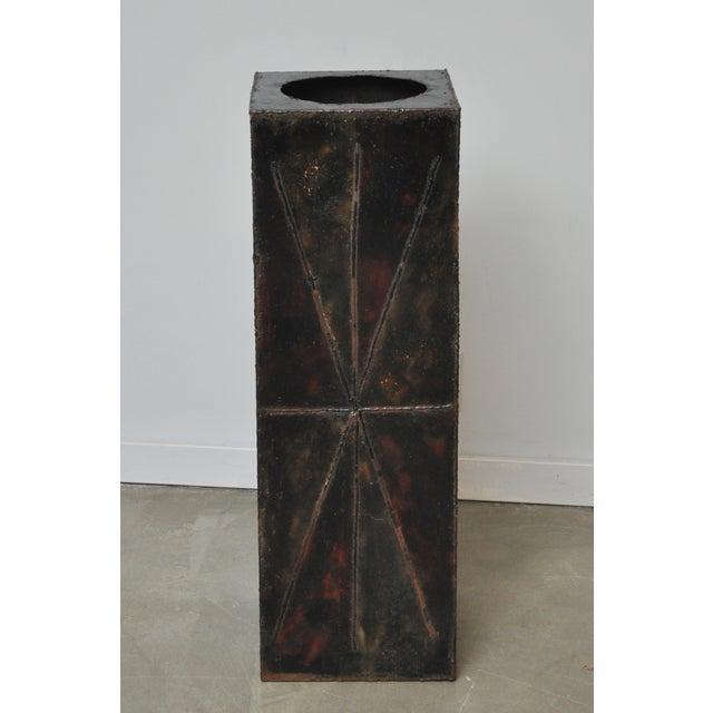 Paul Evans Sculptural Steel Planter Pedestal - Image 4 of 8