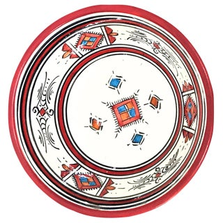 Moroccan Hand-Painted Small Red Ceramic Bowl