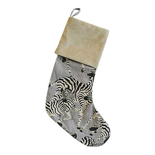Custom Tailored Zebra Linen & Velvet Christmas Stocking
